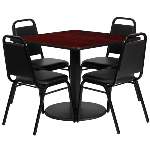 Flash Furniture 36'' Square Mahogany Laminate Table Set with 4 Black Trapezoidal Back Banquet Chairs [RSRB1010-GG]