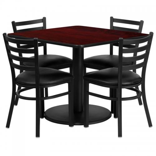 Flash Furniture 36'' Square Mahogany Laminate Table Set with 4 Ladder Back Metal Chairs - Black Vinyl Seat [RSRB1014-GG]