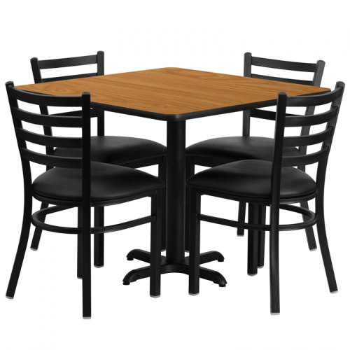 Flash Furniture 36'' Square Natural Laminate Table Set with 4 Ladder Back Metal Chairs - Black Vinyl Seat [HDBF1015-GG]