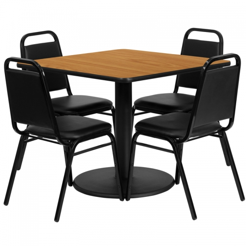 Flash Furniture 36'' Square Natural Laminate Table Set with 4 Black Trapezoidal Back Banquet Chairs [RSRB1011-GG]