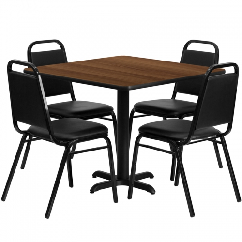 Flash Furniture 36'' Square Walnut Laminate Table Set with 4 Black Trapezoidal Back Banquet Chairs [HDBF1012-GG]