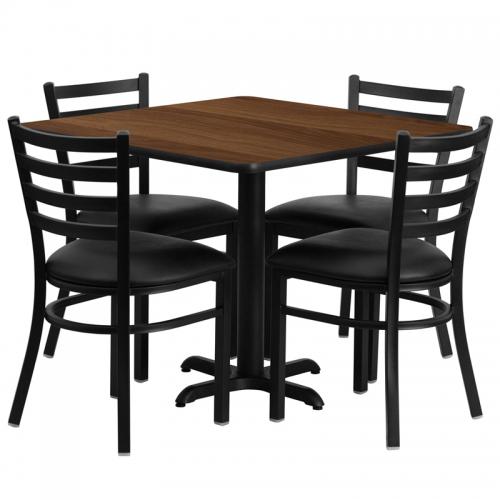 Flash Furniture 36'' Square Walnut Laminate Table Set with 4 Ladder Back Metal Chairs - Black Vinyl Seat [HDBF1016-GG]