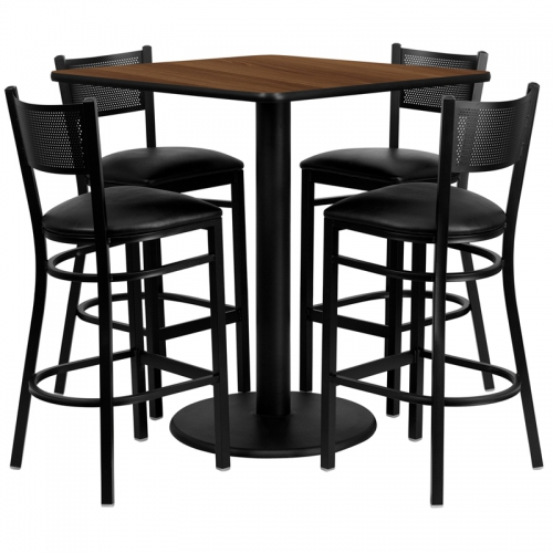 Flash Furniture 36'' Square Walnut Laminate Table Set with 4 Grid Back Metal Bar Stools - Black Vinyl Seat [MD-0015-GG]