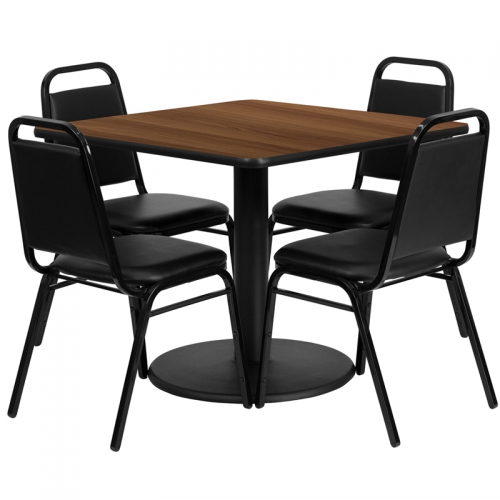 Flash Furniture 36'' Square Walnut Laminate Table Set with 4 Black Trapezoidal Back Banquet Chairs [RSRB1012-GG]