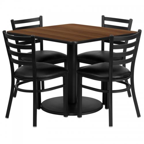 Flash Furniture 36'' Square Walnut Laminate Table Set with 4 Ladder Back Metal Chairs - Black Vinyl Seat [RSRB1016-GG]