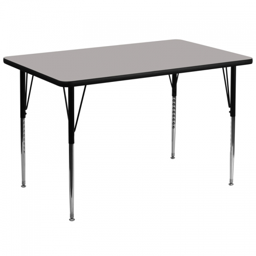 Flash Furniture 36''W x 72''L Rectangular Activity Table with 1.25'' Thick High Pressure Grey Laminate Top and Standard Height Adjustable Legs [XU-A3672-REC-GY-H-A-GG]
