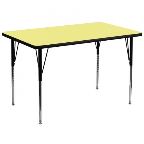 Flash Furniture 36''W x 72''L Rectangular Activity Table with Yellow Thermal Fused Laminate Top and Standard Height Adjustable Legs [XU-A3672-REC-YEL-T-A-GG]