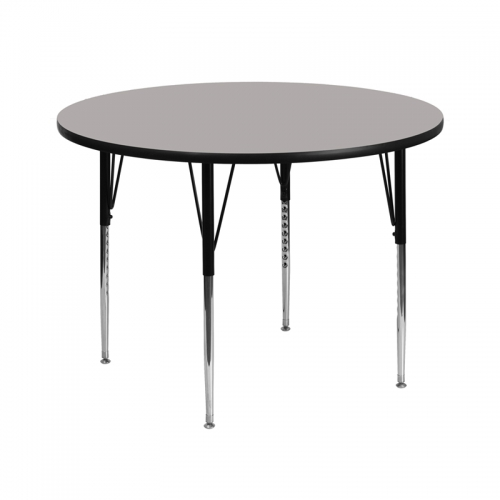Flash Furniture 42'' Round Activity Table with 1.25'' Thick High Pressure Grey Laminate Top and Standard Height Adjustable Legs [XU-A42-RND-GY-H-A-GG]