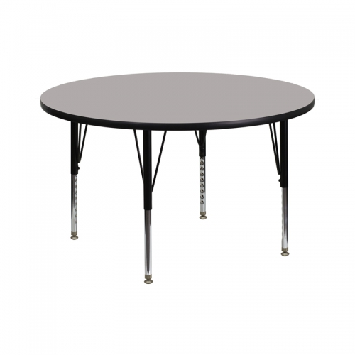 Flash Furniture 42'' Round Activity Table with 1.25'' Thick High Pressure Grey Laminate Top and Height Adjustable Pre-School Legs [XU-A42-RND-GY-H-P-GG]