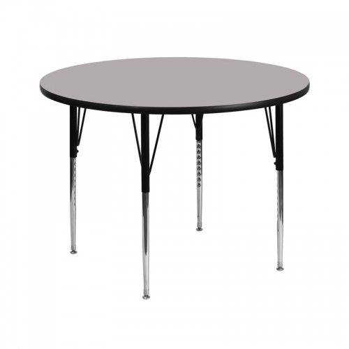 Flash Furniture 42'' Round Activity Table with Grey Thermal Fused Laminate Top and Standard Height Adjustable Legs [XU-A42-RND-GY-T-A-GG]