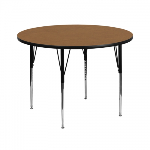 Flash Furniture 42'' Round Activity Table with Oak Thermal Fused Laminate Top and Standard Height Adjustable Legs [XU-A42-RND-OAK-T-A-GG]
