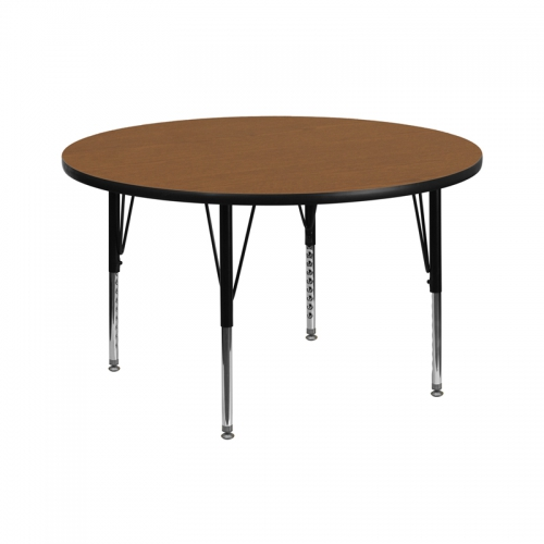 Flash Furniture 42'' Round Activity Table with Oak Thermal Fused Laminate Top and Height Adjustable Pre-School Legs [XU-A42-RND-OAK-T-P-GG]
