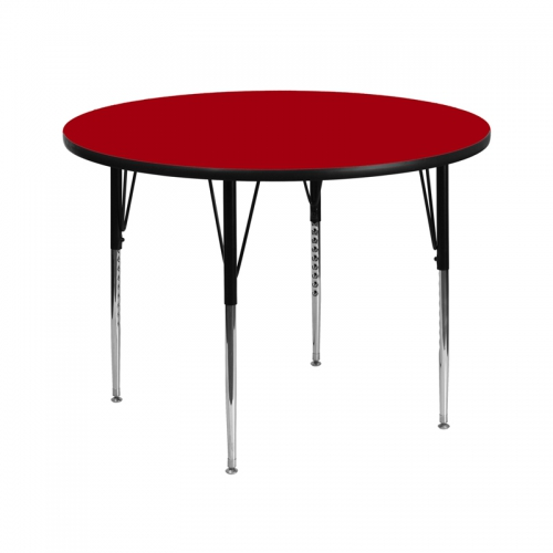Flash Furniture 42'' Round Activity Table with Red Thermal Fused Laminate Top and Standard Height Adjustable Legs [XU-A42-RND-RED-T-A-GG]