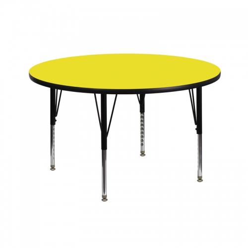 Flash Furniture 42'' Round Activity Table with 1.25'' Thick High Pressure Yellow Laminate Top and Height Adjustable Pre-School Legs [XU-A42-RND-YEL-H-P-GG]