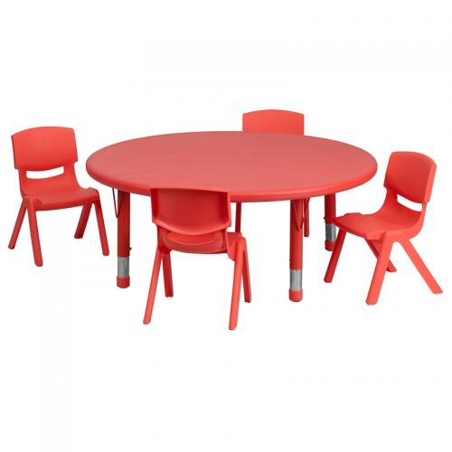 Flash Furniture 45'' Round Adjustable Red Plastic Activity Table Set with 4 School Stack Chairs [YU-YCX-0053-2-ROUND-TBL-RED-E-GG]