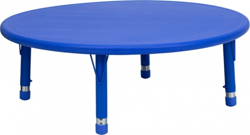 Flash Furniture 45'' Round Height Adjustable Blue Plastic Activity Table [YU-YCX-005-2-ROUND-TBL-BLUE-GG]