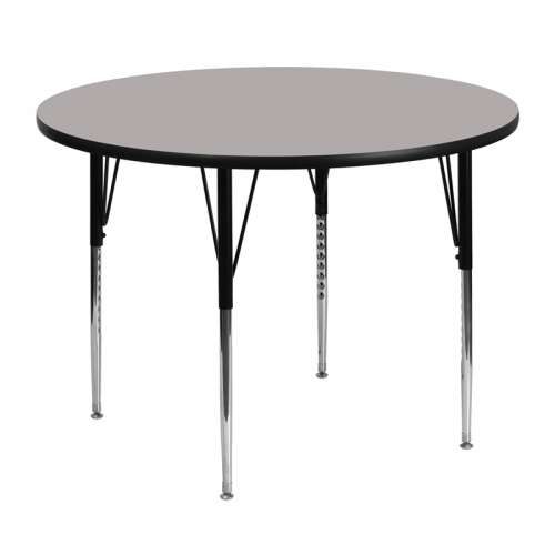 Flash Furniture 48'' Round Activity Table with 1.25'' Thick High Pressure Grey Laminate Top and Standard Height Adjustable Legs [XU-A48-RND-GY-H-A-GG]