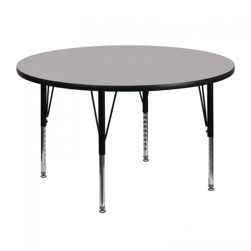 Flash Furniture 48'' Round Activity Table with Grey Thermal Fused Laminate Top and Height Adjustable Pre-School Legs [XU-A48-RND-GY-T-P-GG]