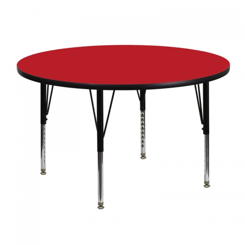 Flash Furniture 48'' Round Activity Table with 1.25'' Thick High Pressure Red Laminate Top and Height Adjustable Pre-School Legs [XU-A48-RND-RED-H-P-GG]