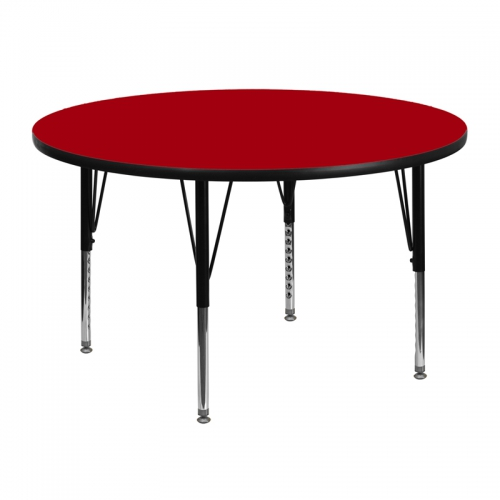 Flash Furniture 48'' Round Activity Table with Red Thermal Fused Laminate Top and Height Adjustable Pre-School Legs [XU-A48-RND-RED-T-P-GG]