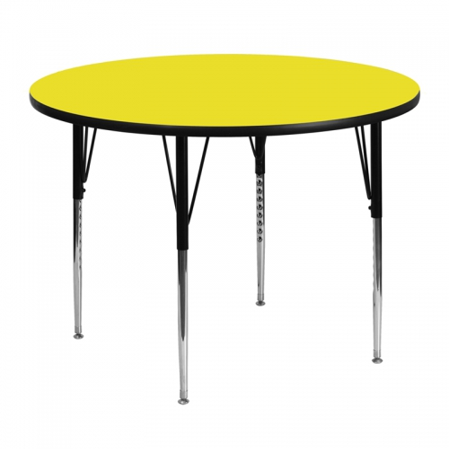 Flash Furniture 48'' Round Activity Table with 1.25'' Thick High Pressure Yellow Laminate Top and Standard Height Adjustable Legs [XU-A48-RND-YEL-H-A-GG]