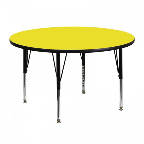 Flash Furniture 48'' Round Activity Table with 1.25'' Thick High Pressure Yellow Laminate Top and Height Adjustable Pre-School Legs [XU-A48-RND-YEL-H-P-GG]