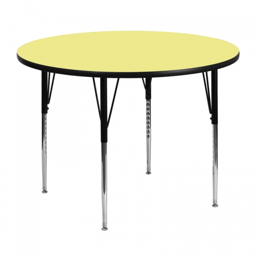 Flash Furniture 48'' Round Activity Table with Yellow Thermal Fused Laminate Top and Standard Height Adjustable Legs [XU-A48-RND-YEL-T-A-GG]