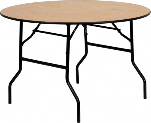 Flash Furniture 48'' Round Wood Folding Banquet Table with Clear Coated Finished Top [YT-WRFT48-TBL-GG]