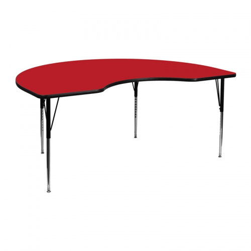 Flash Furniture 48''W x 72''L Kidney Shaped Activity Table with 1.25'' Thick High Pressure Red Laminate Top and Standard Height Adjustable Legs [XU-A4872-KIDNY-RED-H-A-GG]