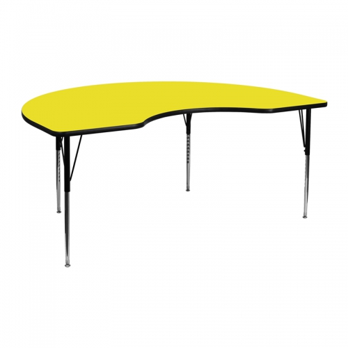 Flash Furniture 48''W x 72''L Kidney Shaped Activity Table with 1.25'' Thick High Pressure Yellow Laminate Top and Standard Height Adjustable Legs [XU-A4872-KIDNY-YEL-H-A-GG]