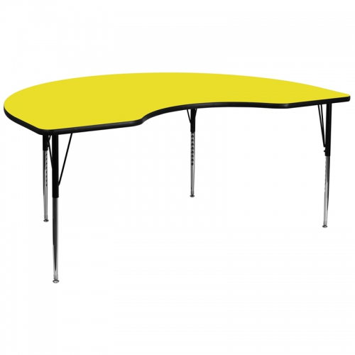 Flash Furniture 48''W x 96''L Kidney Shaped Activity Table with 1.25'' Thick High Pressure Yellow Laminate Top and Standard Height Adjustable Legs [XU-A4896-KIDNY-YEL-H-A-GG]