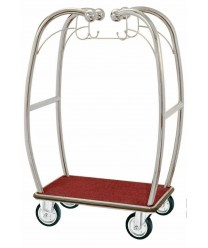 "Aarco BEL-101C 6"" Bellman's Chrome-Finish Curved Luggage Cart"