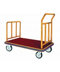 Aarco FB-1 Bellman's Hand Truck with Red Carpet Bed, Brass-Finish