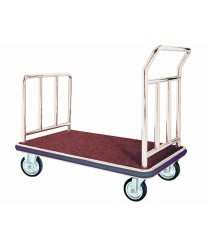 Aarco FB-1C Bellman's Hand Truck with Red Carpet Bed, Chrome-Finish