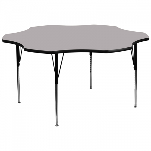 Flash Furniture 60'' Flower Shaped Activity Table with Grey Thermal Fused Laminate Top and Standard Height Adjustable Legs [XU-A60-FLR-GY-T-A-GG]