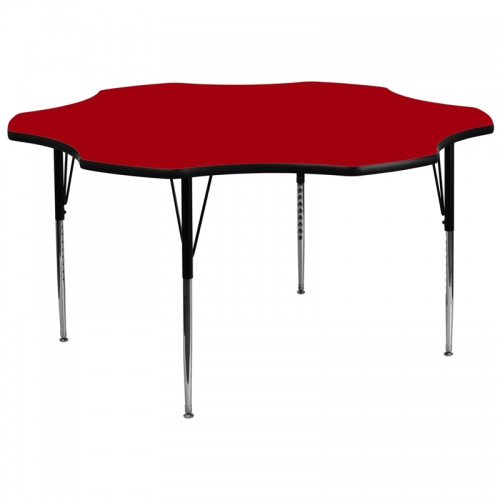 Flash Furniture 60'' Flower Shaped Activity Table with Red Thermal Fused Laminate Top and Standard Height Adjustable Legs [XU-A60-FLR-RED-T-A-GG]