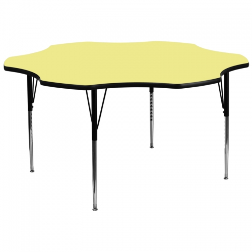Flash Furniture 60'' Flower Shaped Activity Table with Yellow Thermal Fused Laminate Top and Standard Height Adjustable Legs [XU-A60-FLR-YEL-T-A-GG]