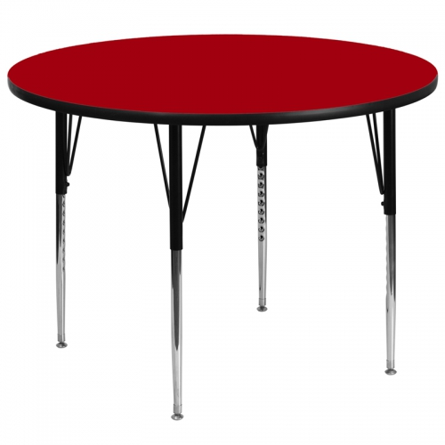 Flash Furniture 60'' Round Activity Table with Red Thermal Fused Laminate Top and Standard Height Adjustable Legs [XU-A60-RND-RED-T-A-GG]