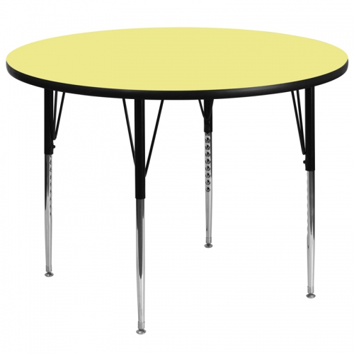 Flash Furniture 60'' Round Activity Table with Yellow Thermal Fused Laminate Top and Standard Height Adjustable Legs [XU-A60-RND-YEL-T-A-GG]