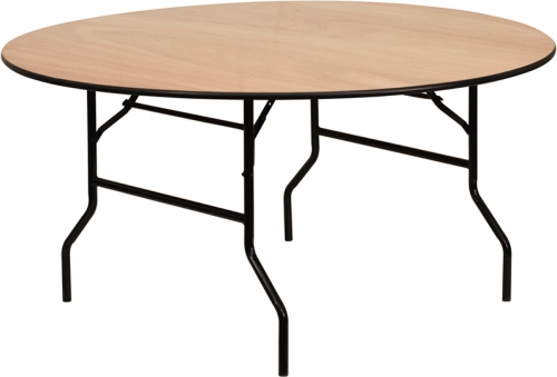 Flash Furniture 60'' Round Wood Folding Banquet Table with Clear Coated Finished Top [YT-WRFT60-TBL-GG]