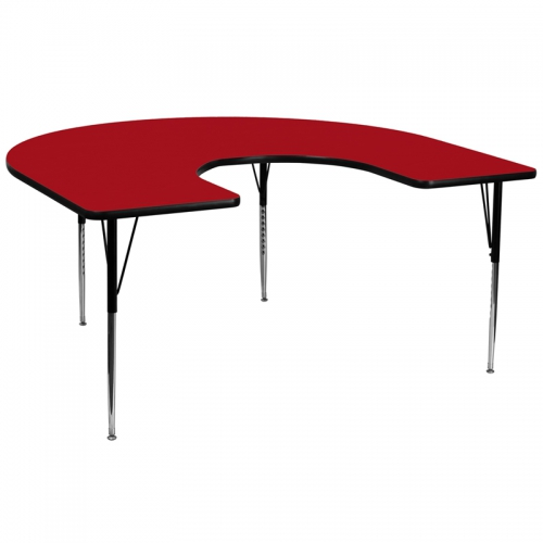 Flash Furniture 60''W x 66''L Horseshoe Activity Table with Red Thermal Fused Laminate Top and Standard Height Adjustable Legs [XU-A6066-HRSE-RED-T-A-GG]