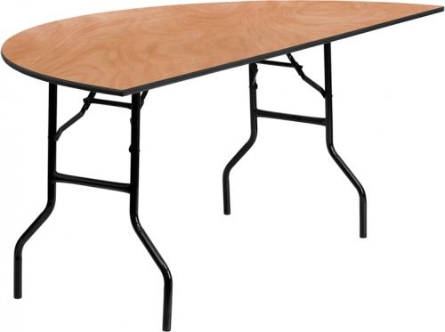 Flash Furniture 72'' Half-Round Wood Folding Banquet Table [YT-WHRFT72-HF-GG]