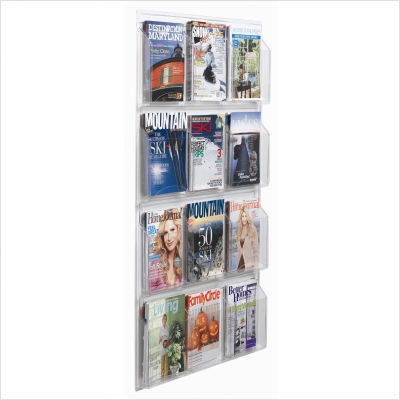 """Aarco LRC115 Clear-Vu Magazine and Literature Display - 8 Pocket  49"""" x 21"""""""