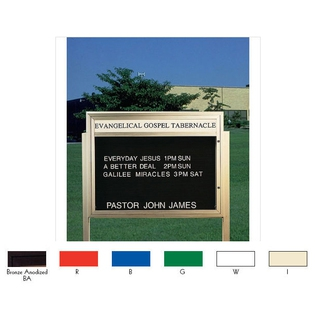 "Aarco BM3343R Single Sided Illuminated Community Board with Header, Red Powder Finish 33"" x 43"""