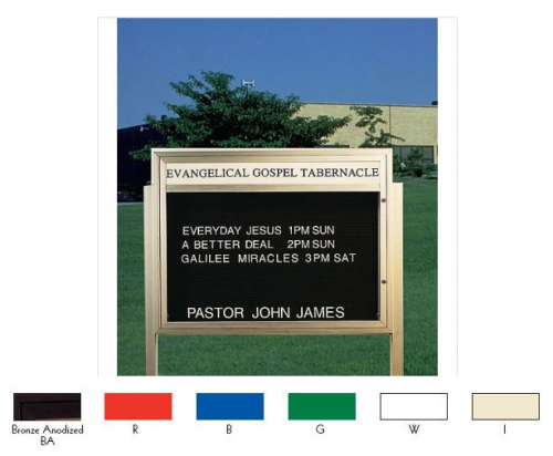 "Aarco BM3343W Single Sided Illuminated Community Board with Header, Red Powder Finish 33"" x 43"""