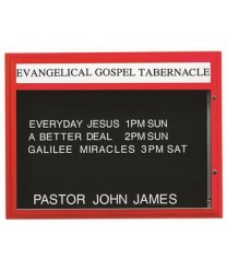 "Aarco BM3647R Single Sided Illuminated Community Board with Header, Red Powder Finish 36"" x 47"""