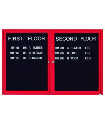 "Aarco OADC4872R 2 Door Outdoor Enclosed Directory Board with Red Anodized Aluminum Frame 48"" x 72"""