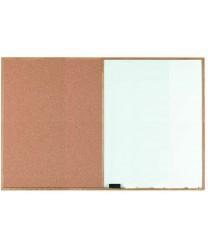 """Aarco WCO4872 Combination Corkboard / Melamine Markerboard with Oak Frame 48"""" x 72"""""""