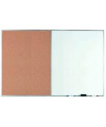 "Aarco WDCO4872 Combination Corkboard / Melamine Markerboard with Aluminum Frame 48"" x 72"""