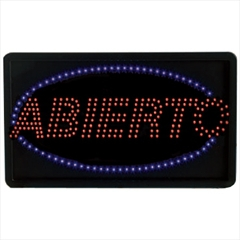 Aarco ABI08L High Visibility LED ABIERTO Sign 13'' x 22''